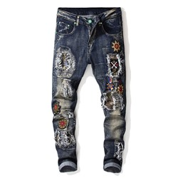 Straight Hole Casual Zipper Jeans