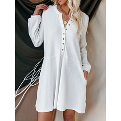 Above Knee Long Sleeve Button Pullover Women's Casual Dress