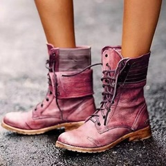 Shoespie Vintage Stylish Lace-Up Front Plain Round Toe Casual Boots