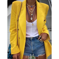 Long Sleeve Double-Breasted Notched Lapel Mid-Length Women's Casual Blazer