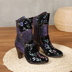 Shoespie Stylish Round Toe Patchwork Chunky Heel Zipper Boots