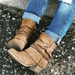 Shoespie Vintage Trendy Round Toe Chunky Heel Plain Chunky Boots