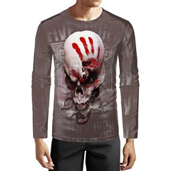 Halloween Skull Casual Round Neck Long Sleeve Pullover T-shirt