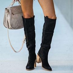 Shoespie Stylish Pointed Toe Chunky Heel Plain Banquet Boots