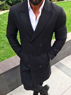 Lapel Mid-Length Plain Double-Breasted Winter Coat