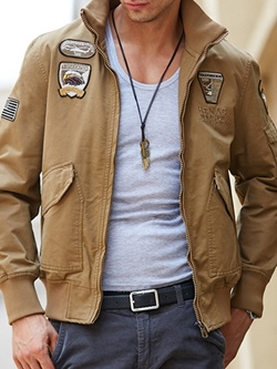 Stand Collar Letter Embroidery Straight Fall Jacket