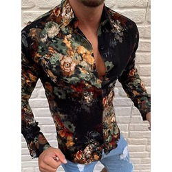 Casual Flower Lapel Print Spring Single-Breasted Shirt