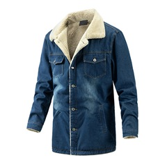 Worn Lapel Mid-Length Single-Breasted Casual Down Jacket