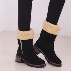 Shoespie Stylish Patchwork Chunky Heel Round Toe Professional Boots
