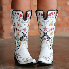 Shoespie Stylish Floral Slip-On Chunky Heel Ethnic Boots