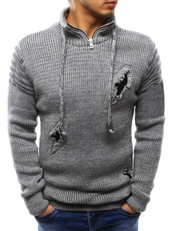 Stand Collar Hole Standard Casual Slim Sweater