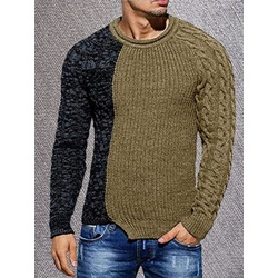 Round Neck Color Block Patchwork Fall European Sweater