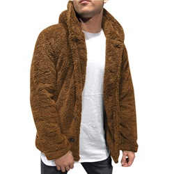 Plain Thick Hooded Winter Single-Breasted Jacket