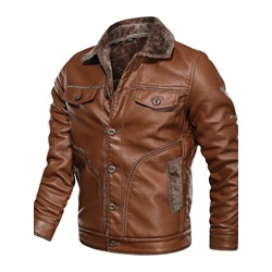Standard Lapel Casual Single-Breasted Leather Jacket