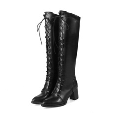 Shoespie Sexy Pointed Toe Chunky Heel Plain Lace Up Western Boots