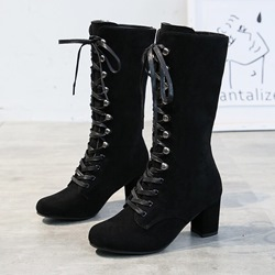 Shoespie Sexy Lace-Up Front Round Toe Plain Professional Boots