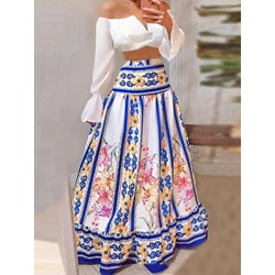 Floral Print Fashion Pullover Women's Dress Two Piece Sets