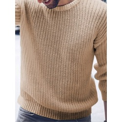 Plain Round Neck Standard Casual Fall Sweater