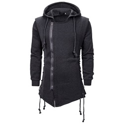 Plain Lace-Up Cardigan Fall Hooded Hoodies