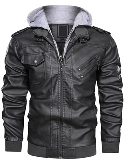 Standard Double-Layer Slim Winter Leather Jacket