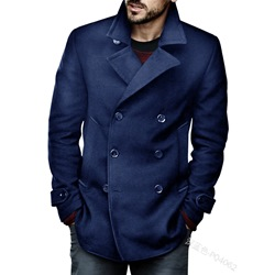 Lapel Mid-Length Plain Double-Breasted Casual Coat