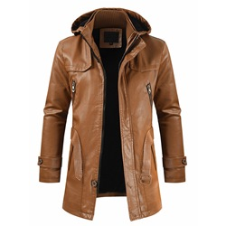 Double-Layer Plain Mid-Length Slim Fall Leather Jacket