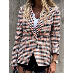 Double-Breasted Color Block Notched Lapel Regular Women's Casual Blazer