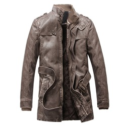 Standard Stand Collar Winter Casual Leather Jacket