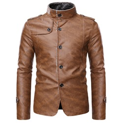 Standard Stand Collar European Single-Breasted Leather Jacket