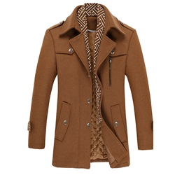 Double-Layer Plain Standard Winter Single-Breasted Coat