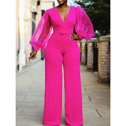 Fashion Full Length Red Pink Straight Women's Jumpsuit