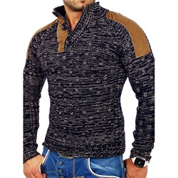 Stand Collar Standard Patchwork Slim Casual Sweater