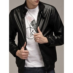 Stand Collar Plain Standard Patchwork Fall Leather Jacket