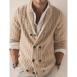 Standard Plain Lapel Double-Breasted Casual Sweater