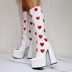 Shoespie Sexy Round Toe Heart Chunky Heel Thread Boots