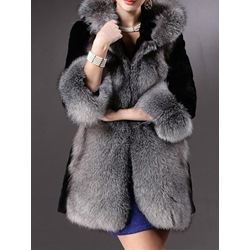 Mid-Length Color Block Hooded Wrapped Women's Faux Fur Overcoat