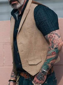 Patchwork Color Block Fall Single-Breasted Waistcoat