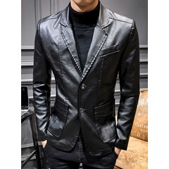 Plain Standard Notched Lapel Fall Single-Breasted Leather Jacket
