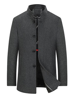 Plain Stand Collar Standard Casual Straight Coat