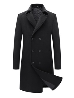 Plain Button Lapel England Double-Breasted Coat