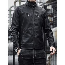 Standard Plain Stand Collar Slim Casual Leather Jacket