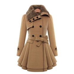 Lace-Up Slim Double-Breasted Winter Women's Overcoat