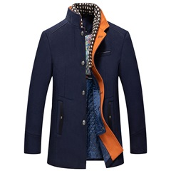Stand Collar Patchwork Mid-Length Slim Single-Breasted Coat
