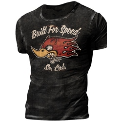 Built For Speed Print Round Neck Casual Pullover Slim T-shirt