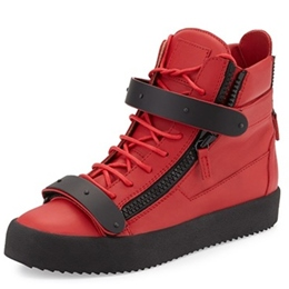 Shoespie Red & Black Zipper Men's Sneakers