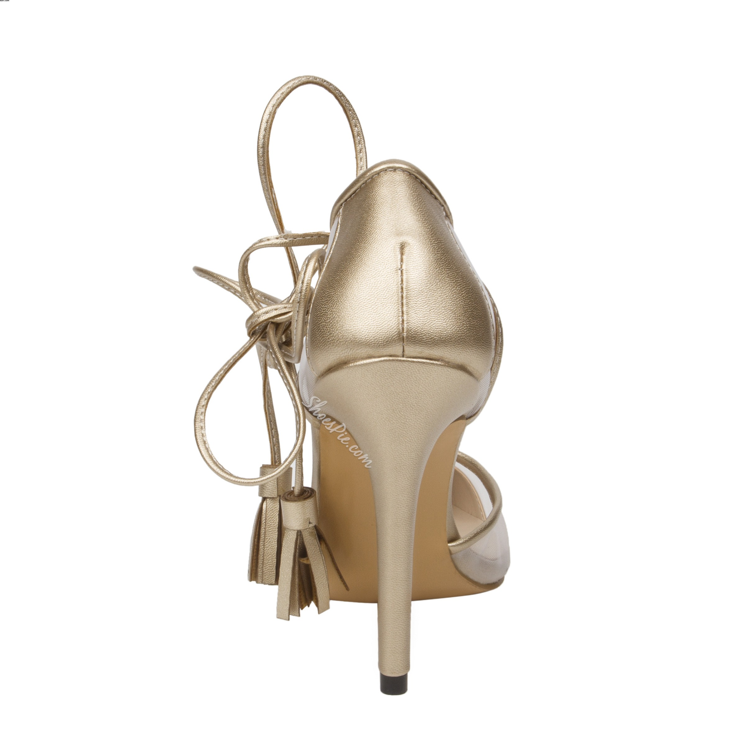 Shoespie Golden Genuine Leather Lace-up Stiletto Heels