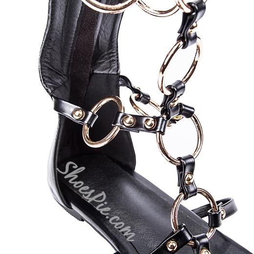 Shoespie Metal Chain Linked Knee-high Flat Sandals