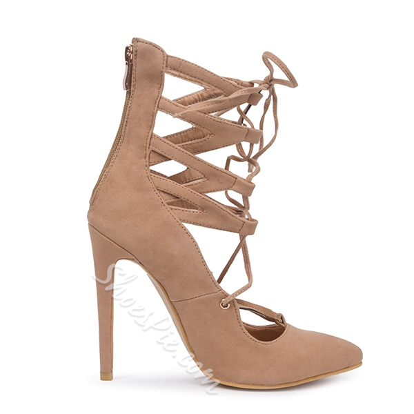 Shoespie Nude Lace Up Back Zipper Heels