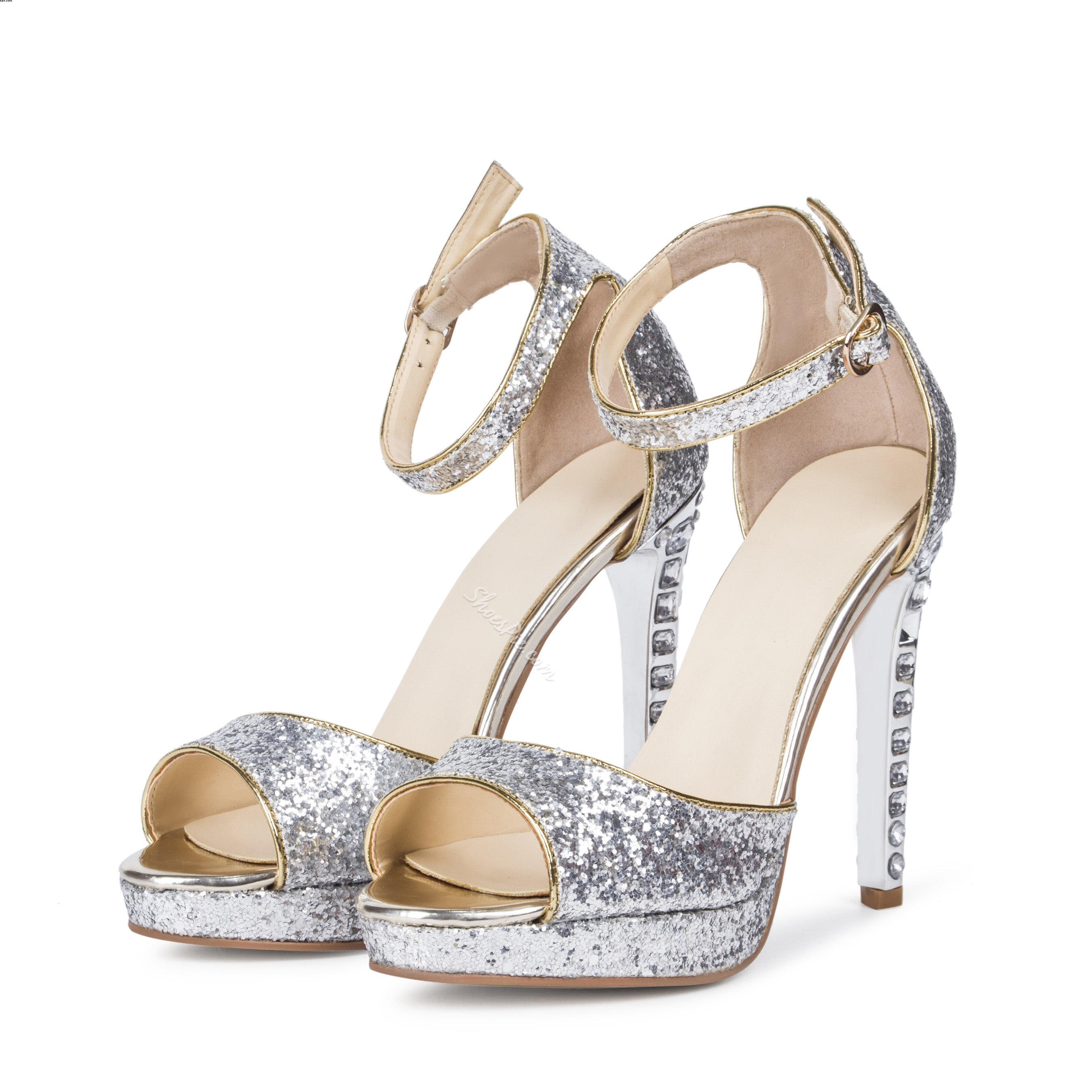 Shoespie Stiletto Heel Rinestone Peep Toe Dress Sandals