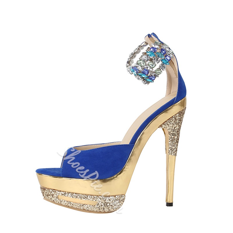 Gorgeous Blue Rhinestone Ankle Strap Dress Sandals